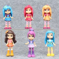 Wholesale Strawberry Shortcake Gifts Girls - 6pcs 7cm Strawberry Shortcake Dolls Princess Girl Action Figures Toys For Children Christmas Gifts Cake Decoration