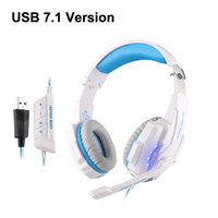 Wholesale Surround Sound Gaming Headphones - KOTION EACH G9000 USB 7.1 Surround Sound Version Game Gaming Headphone Computer Headset Earphone Headband with Microphone LED Light