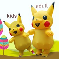 Wholesale Mascot Costumes For Girls - Inflatable Pikachu Costume Cartoon Character Costume for carnaval Party Suit Adult costume Halloween costumes for women Girls kids mascot