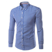 Wholesale best slimming dresses - Wholesale- 2017 New Fashion Hemiks Men's Classic Slim Fit Vertical Striped Long sleeve Dress Shirt Best for Office and Street Wear
