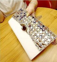 Wholesale Letters Colored Rhinestones - Colored diamonds set auger han edition hand chain party a undertakes to purse one shoulder aslant female bag handbag evening dinner packages