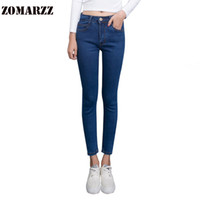 Wholesale Girls Capri Tights - Wholesale- 2017 Fashion Tight Jeans Women Slim High Waist Jean Girls Fitted Capri Long Pant Female Blue Cotton Pencil Pants New
