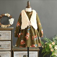 Wholesale Green Fleece Jacket Wholesale - Everweekend Girls Beading Bow Jacket with Floral Ruffles Dress 2pcs Sets Lovely Kids Green Color Fleece Lining Autumn Clothing