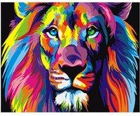 benzersiz modern yağlı boya toptan satış-Renkli Aslanlar Hayvanlar Sayılar Tarafından DIY Boyama Modern Soyut El Boyalı Yağlıboya Çocuklar Için Benzersiz Hediye 40X50