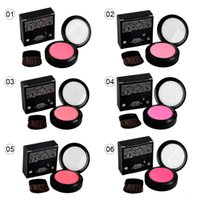 Wholesale Single Blush Brush - Popfeel Single Makeup Blush Cosmetic Blush Makeup Face Powder Blush Cake Plus Compact Face Blusher with Brush and Compact Mirror 6g 2802017