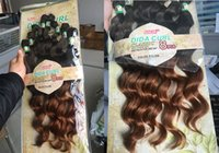 Wholesale synthetic hair deep curls for sale - Group buy Loose Deep Wave Curly Synthetic Hair sew in hair weft pack full head DIDA CURL ombre blond hair extensions body wave
