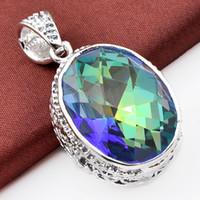 jóia mística topázio venda por atacado-12pieces Luckyshine Moda de jóias por atacado 925 pingentes de prata clássico Royal Estilo Oval do arco-íris Blue Mystic Topaz cristal para Lady Jewelr