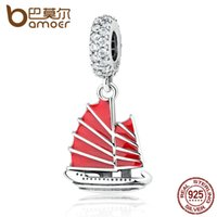 Wholesale Chinese Pandora Charms - Pandora Style 925 Sterling Silver Chinese Junk Ship, Red Enamel & Clear CZ Pendant Charms DIY Beads & Jewelry Makings Jewelry PAS369