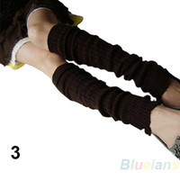 Wholesale Neon Gloves Wholesale - Wholesale-2013 Winter Warm Women Plain Knitted Leg Warmers Stocking Finger less Long Gloves Neon Solid Pure Color 086O