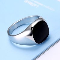 Wholesale Cheap Black Wedding Bands - Wholesale- KOVTIA Fashion Men Jewelry Black Rings Zinc Alloy Wedding Bands Cheap Men Ring Hot Sale White Gold Color Smooth Rings anel