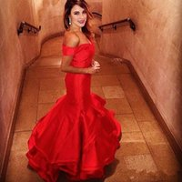 Wholesale backless ombre dress resale online - Red Mermaid Evening Dresses Off The Shoulder Long Prom Dress Ombre Party Gowns Sexy Tiered Skirts Long Celebrity Dress BA2322