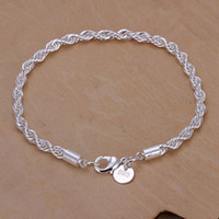 Wholesale Solid Silver Bracelet Chain - Men's Jewelry prata solid silver plated 4mm width Link chains 20cm bracelets bangles Pulseiras H207 gift box bag free shipping