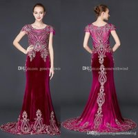 Wholesale Model Cape Winter - real photos Arab Dubai red velvet evening dresses 2018 cape sleeves heavily embroidery crystals beaded scoop neckline eveing gowns