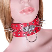 Wholesale Sm Slave Metal - SM Female Slave Bondage Metal Studded and Spiked Red Leather Collar with Pad Lock Fetish Dog Harness Style