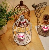 Wholesale Photography Ornament - Continental retro creative old hollow girandola photography props Bar Iron Candle Lanterns decorative ornaments Free shipping