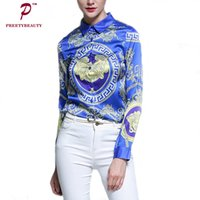 Wholesale Ladies Office Shirts Blouses - Women Elegant Office Shirt Personality Printing Vintage Blouse Slim Fit Long Sleeve Ladies Shirts Fashion Tops 2017 New Autumn