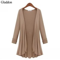Wholesale Cardigan Out Wear - Wholesale- M-5XL Plus Size Fashion Women Cardigans Female's Sweater Casual Long Sleeve Knit Top Tee Out Wear Oversized Sweater Coat Sweter