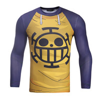 Wholesale Onepiece Men - Unique Onepiece Smile Face 3D Printed Compression Shirts Slim Fit Skin Tight Long Sleeve Mens Bodybuilding Crossfit Tight Tops BL-038