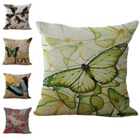 Wholesale Butterflies Bedding - Monarch Butterfly Pillow Case Cushion cover Linen Cotton Throw Pillowcases sofa Bed Pillow covers DROP SHIPPING