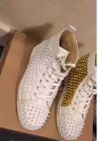Barato Sapatos De Couro-Sinal de luxo Paris Loubs Red Bottom Sneakers Men's Flat Spikes White Gold Leather Sneakers Shoes High Quality Wholesale Store