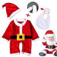 Wholesale Bib Baby Dress - Wholesale Baby Kid girls Boys Christmas Suits Xmas Santas Clothes Jumpsuits + Hat+beard bib Cosplay Outfit toddler dress up clothing