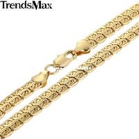 caracol amarillo al por mayor-Trendsmax 7 mm cadena para hombre doble caracol enlace de alta calidad para mujer unisex collar lleno de oro amarillo regalo al por mayor GN366
