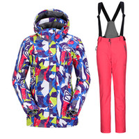 Wholesale Jacket Overalls Women - Wholesale- High Quality Ladies Outdoor Sport Ski Jacket And Bib Pant Cheap Ski Suit Female Snow Pants Snowboard Overalls Winter Colorful