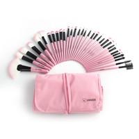 set de brosse à maquillage rose 32pcs achat en gros de-VENTE 32pcs Rose Professionnel Cosmétique Ombre À Paupières Maquillage Brush Set + Pouch Sac # R56
