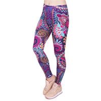 Wholesale Retro High Waist - Fashion Retro Women Legins Mandala Flowers Pink Printing Legging Woman Cozy High Waist Leggings