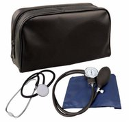 Wholesale Factory Aneroid Sphygmomanometer Blood Pressure Measure Device Kit Cuff Stethoscope with by DHL