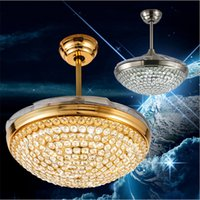 Wholesale Acrylic Ceiling Lamp Chandelier - 42 inch LED Crystal Ceiling Fans Light Chrome Finished Modern Ceiling fan lamp LED Chandelier with Remote Control Acrylic Retractable Blades