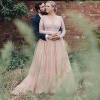 Wholesale Sleeves For Wedding Dresses - 2017 Plus Size Blush Wedding Dresses Long Sleeves with Bling Sequins V Neck A Line Tulle Lace Bridal Gowns for Maternity Country Dress