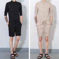 Wholesale Straight Loose Jumpsuit - Men's Casual Loose Bib Overalls Men's Streetwear Jumpsuit Harem Cargo Shorts Korean Harajuku Hip Hop Cargo Rompers