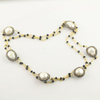 Moda DIY 3Pcs Gold Color Black Crystal Chains Pave Rhinestone Pearl Beads Charm Necklaces Jewelry Finding