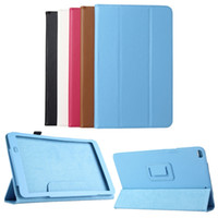 "Wholesale Huawei Mediapad Casing - Wholesale-Ultra thin 3-folding Stand Flip Cover For Huawei MediaPad T1 10   T1-A21W   honor note 9.6""  T1-A23L Tablet Lychee Leather Case"