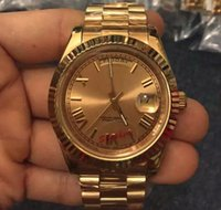 Wholesale golden watch price online - Top Brand Mens Luxury Watches President Roman Golden Face Gold Stainless Steel Original Clasp Automatic Men Mechanical Wristwatch Low Price