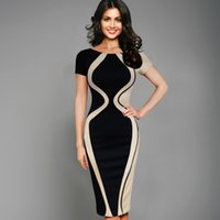 Night Out & Club Summer Knee-Length yizhan Vfemage Womens Elegant Optical Illusion Colorblock Contrast Patchwork O-Neck Bodycon Work Casual Office Pencil Slim Dress 2355