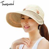 Wholesale Motor Hat - Wholesale- 2017 Wide Brim Anti Sun Hats For Women Motor Caps Panama Top Beach Hat Straw Cap Ajustable Sunhat