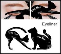 Wholesale Eye Stencil Kit - eyeliner tool guide Cat Eyeliner Stencil kit for eyebrows guide template Maquiagem eye shadow frames card makeup tools