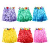 Wholesale Party Hawaii Dress - Plastic Fibers Kid Grass Skirts Hula Skirt Hawaiian costumes 30CM Girl Dress Up Party Supplies Wholesale