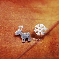 Wholesale Deer Silver Alloy Charms - Hot Sale 925 Sterling Silver Earrings For Women Christmas Style Snowflake Deer Stud Earrings Girl Fashion Jewelry Gifts AAA+ Luxury Jewelry