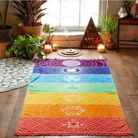 Wholesale Cotton Large Shawl - Rainbow Beach Towel 150*70cm Tapestry Boho Polyester Beach Throw with Tassel Rectangle Yoga Mat Wall Hanging Large Shawls OOA1595