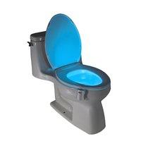 Wholesale Led Light Toilet Seat - LED Toilet Light Sensor Motion Activated Glow Toilet Bowl Light Toilet Seat Night light Inside Bathroom Washroom 8 Color Change