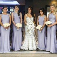 Wholesale Gems Chiffon Dresses - 2017 cheap new lilac gem plus size bridesmaid dresses neck rhinestone edge sleeveless sheath wedding dress I style