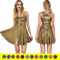 Wholesale united pipe for sale - Group buy GU Women s dress Europe and the United States Digital printing Scale Big skirt Woman temperament Sleeveless Pleated skirt Backing