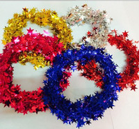 Wholesale Christmas Pine Decoration - New Arrive Christmas Tree Hanging Star Pine Garland Christmas Decoration Ornament 5 Colors 7.5m