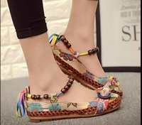 Wholesale Beaded Embroidered Fabric - Plus size42 Casual Flat Shoes Women Flats Handmade Beaded Ankle Straps Loafers Zapatos Mujer Retro Ethnic Embroidered Shoes
