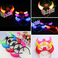 Wholesale Devil Horns Light - Hot Sales LED Light Up Flashing Devil Horns Headband Glowing Devil Horns LED Costume Headband Party Raves Props Free Shipping
