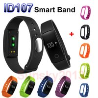 Wholesale Smartband ID107 Smart Band Bracelet Sports Wristband Bluetooth Watch VS Fitbit Flex Fitness Health Tracker Pedometer Heart Rate Monitor IOS