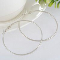 Wholesale Basketball Wives Earrings Large Hoop - Wholesale- LASPERAL Jewelry Classic Chic Punk Large Round 0.9mm Thin basketball wives Hoop Earrings For Women Summer Style 6.3x5.9cm 1Pair